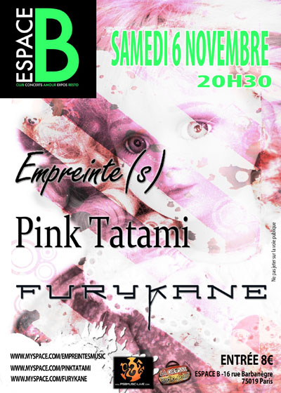 Furykane avec Pink Tatami et Empreinte(s) en concert @ Paris